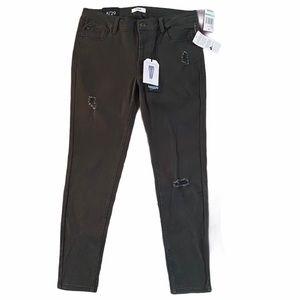 Kensie Skinny Ankle Crop Distressed Jeans